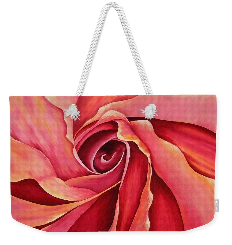Red Flower Paintings Weekender Tote Bag featuring the painting Rosebud by Mary Deal