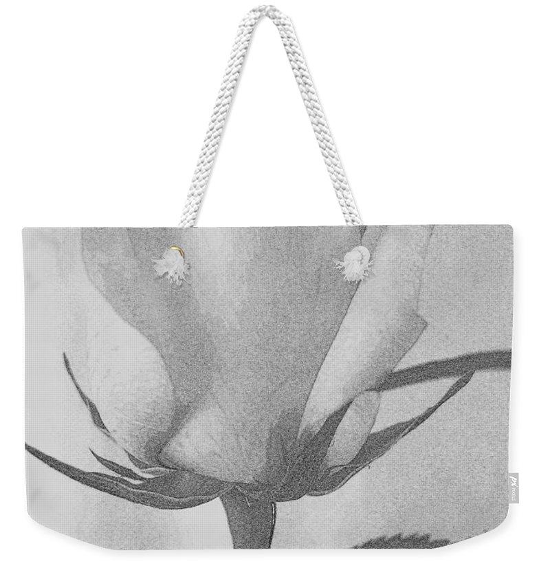Flowers Weekender Tote Bag featuring the digital art Rosebud Sketch No 1 by Mary Deal