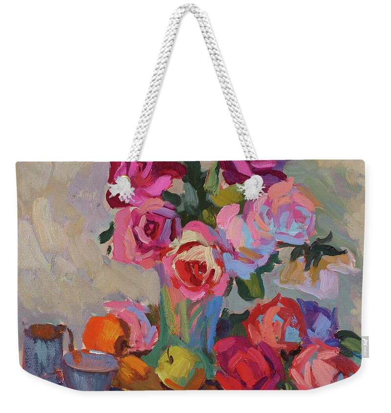 Roses And Apples Weekender Tote Bag featuring the painting Roses And Apples by Diane McClary