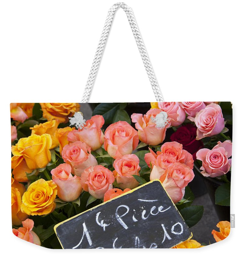 Aix Weekender Tote Bag featuring the photograph Roses At Flower Market by Brian Jannsen