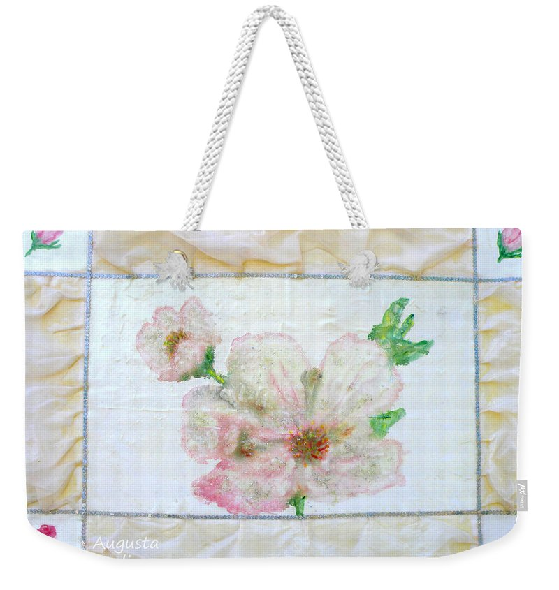 Augusta Stylianou Weekender Tote Bag featuring the painting Roses by Augusta Stylianou