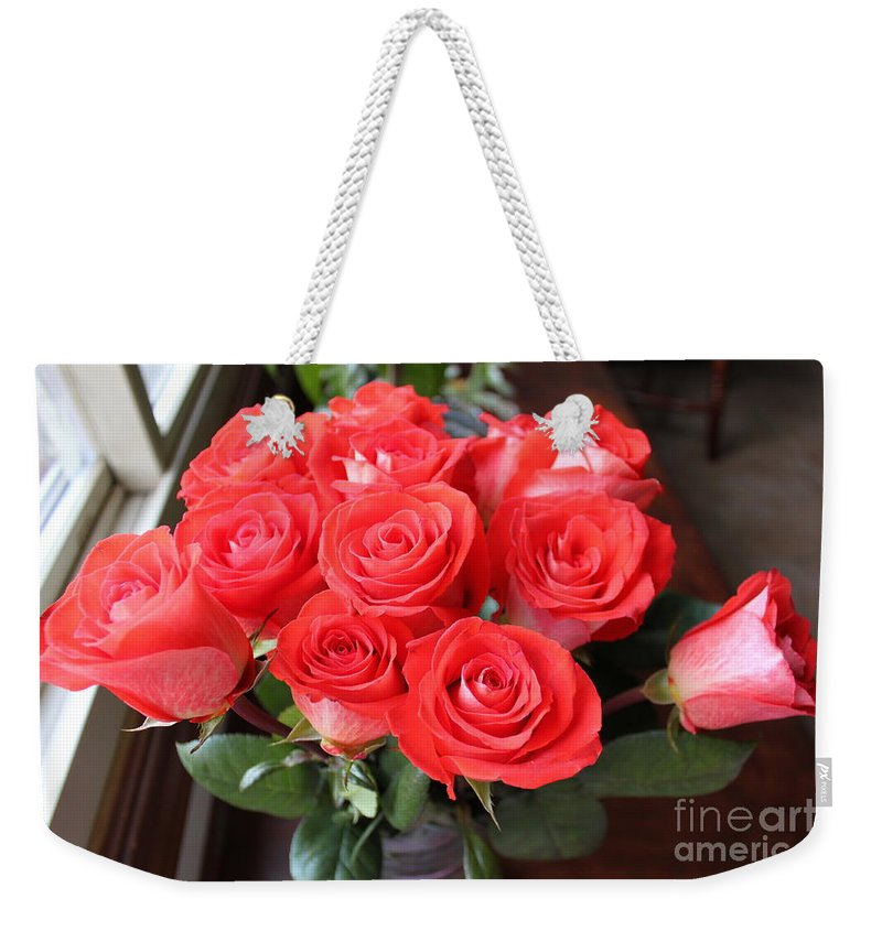 Flora Weekender Tote Bag featuring the photograph Roses For Mother by Jennifer E Doll