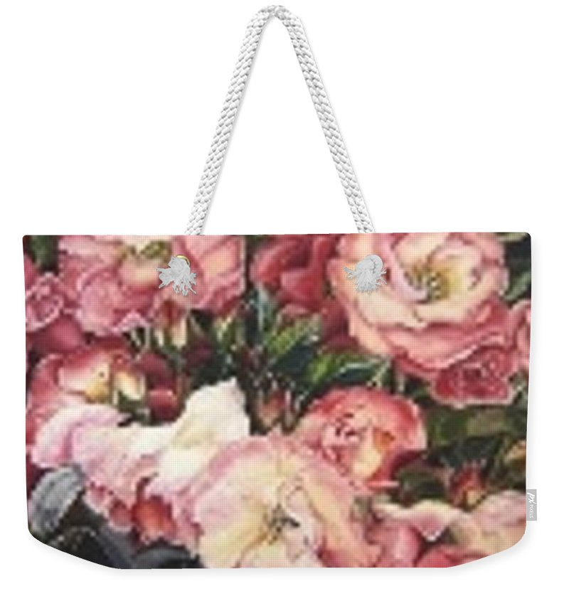 Pink Roses Floral Flowers Weekender Tote Bag featuring the painting Roses in a watercan by Karin Dawn Kelshall- Best