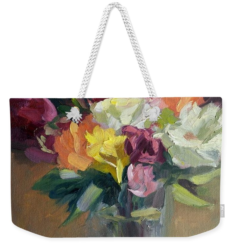 Roses Weekender Tote Bag featuring the painting Roses In North Light by Linda Riesenberg Fisler