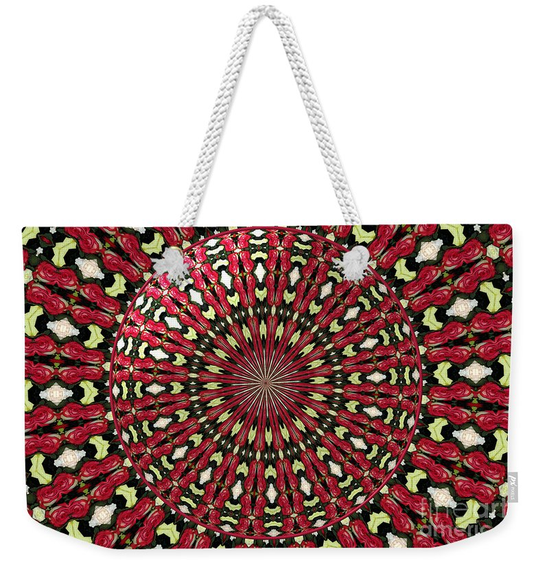 Red Roses Weekender Tote Bag featuring the photograph Roses Kaleidoscope Under Glass 21 by Rose Santuci-Sofranko