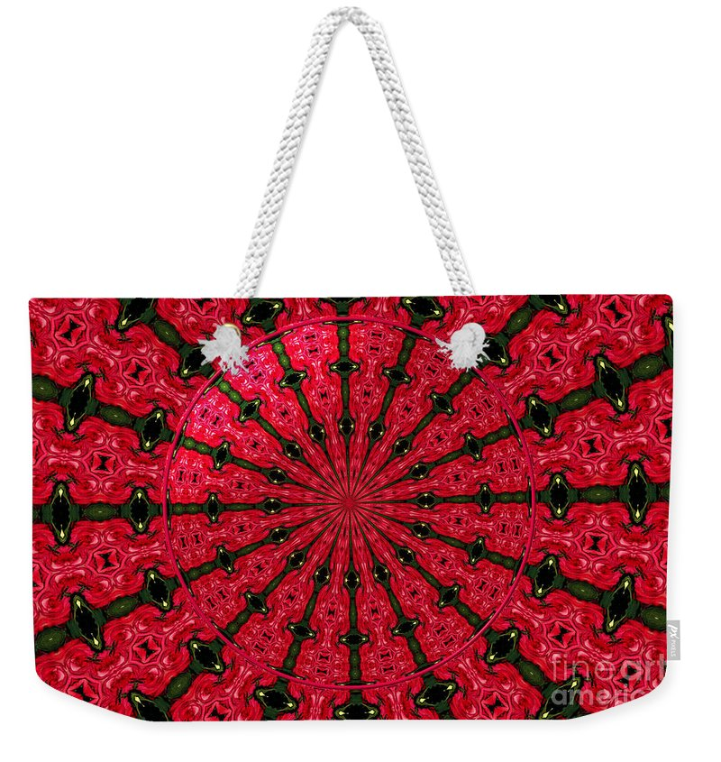 Fuchsia Roses Weekender Tote Bag featuring the photograph Roses Kaleidoscope Under Glass 24 by Rose Santuci-Sofranko
