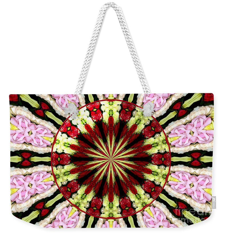 Pink Roses Weekender Tote Bag featuring the photograph Roses Kaleidoscope Under Glass 25 by Rose Santuci-Sofranko