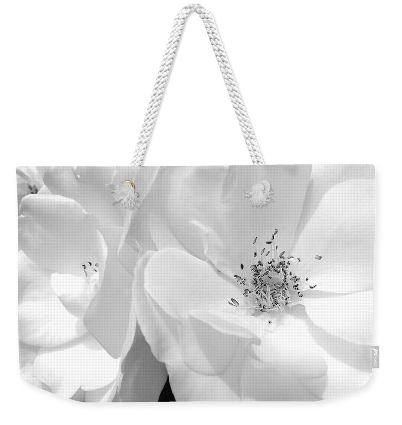 Rose Weekender Tote Bag featuring the photograph Roses Soft Petals In Black And White by Jennie Marie Schell
