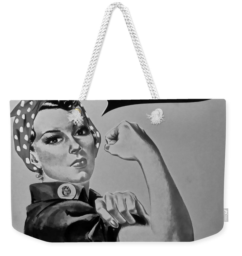 Rosie The Riveter Weekender Tote Bag featuring the photograph Rosie In Black And White by Rob Hans