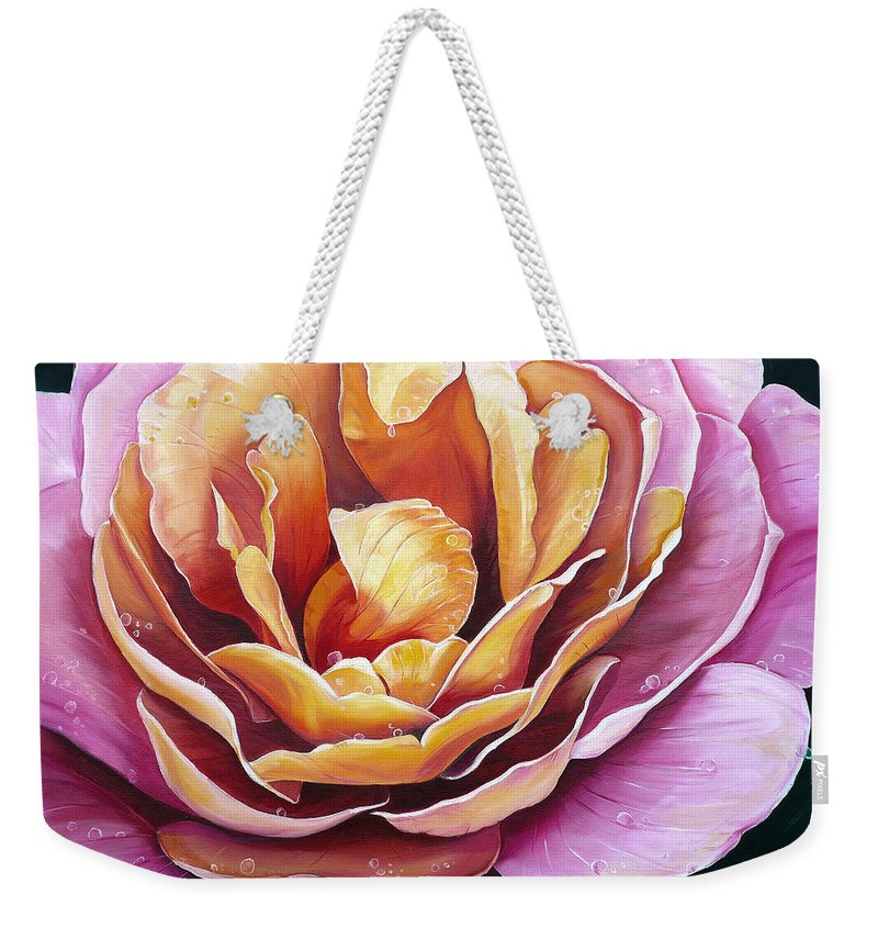 Rose Painting Pink Yellow Floral Painting Flower Bloom Botanical Painting Botanical Painting Weekender Tote Bag featuring the painting Rosy Dew by Karin Dawn Kelshall- Best