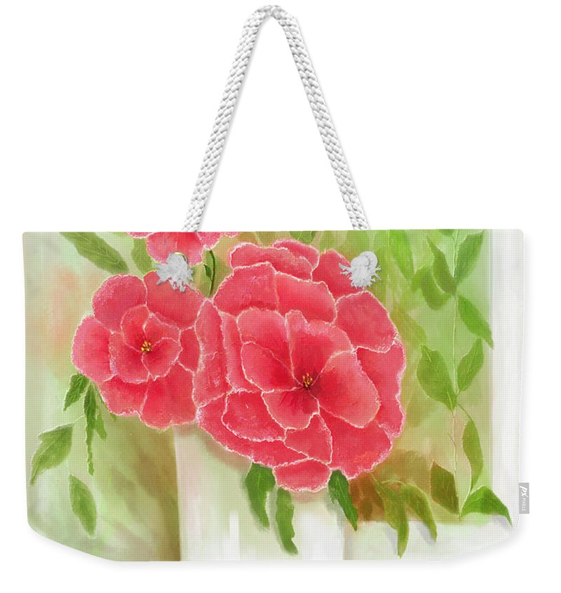 Florals Weekender Tote Bag featuring the painting Rosy Pink Pedals by Sena Wilson