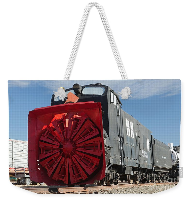Colorado Weekender Tote Bag featuring the photograph Rotary Snow Thrower 99201 In The Colorado Railroad Museum by Fred Stearns