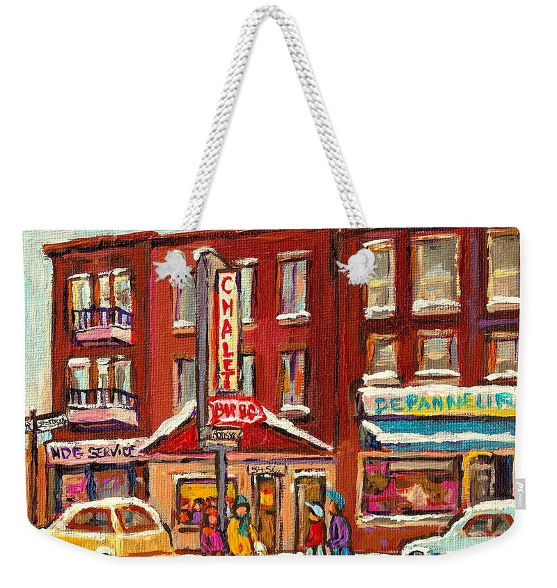 Montreal Weekender Tote Bag featuring the painting Rotisserie Le Chalet Bar B Q Sherbrooke West Montreal Winter City Scene by Carole Spandau