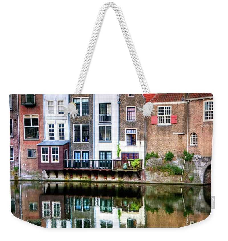 Dawn Weekender Tote Bag featuring the photograph Rotterdams Delfshaven With His Historic by Aleksandargeorgiev