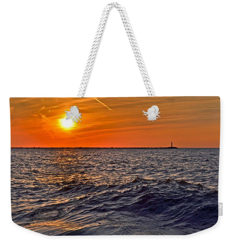 Seascape Weekender Tote Bag featuring the photograph Rough Sea by Frozen in Time Fine Art Photography