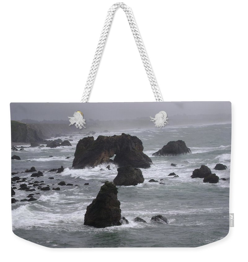 Northern California Weekender Tote Bag featuring the photograph Rough Seas by Mike Niday
