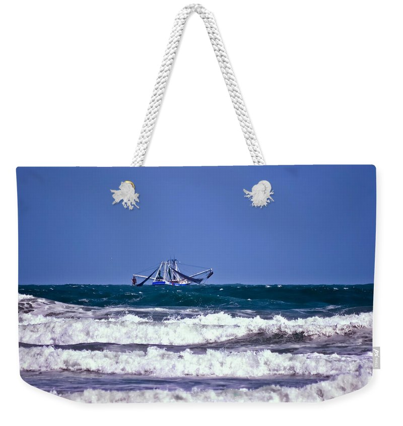 Boat Weekender Tote Bag featuring the photograph Rough Seas Shrimping by DigiArt Diaries by Vicky B Fuller