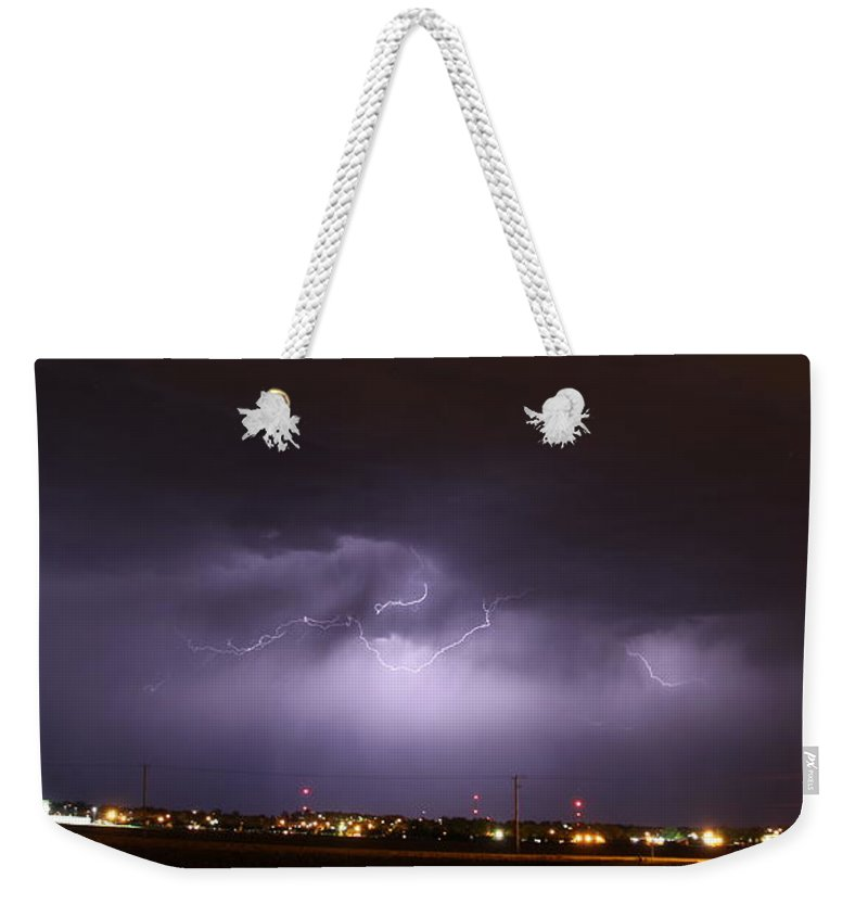 Stormscape Weekender Tote Bag featuring the photograph Round 2 More Late Night Servere Nebraska Storms by NebraskaSC