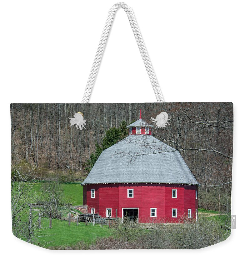 16-sided Barn Weekender Tote Bag featuring the photograph Round Barn by Guy Whiteley