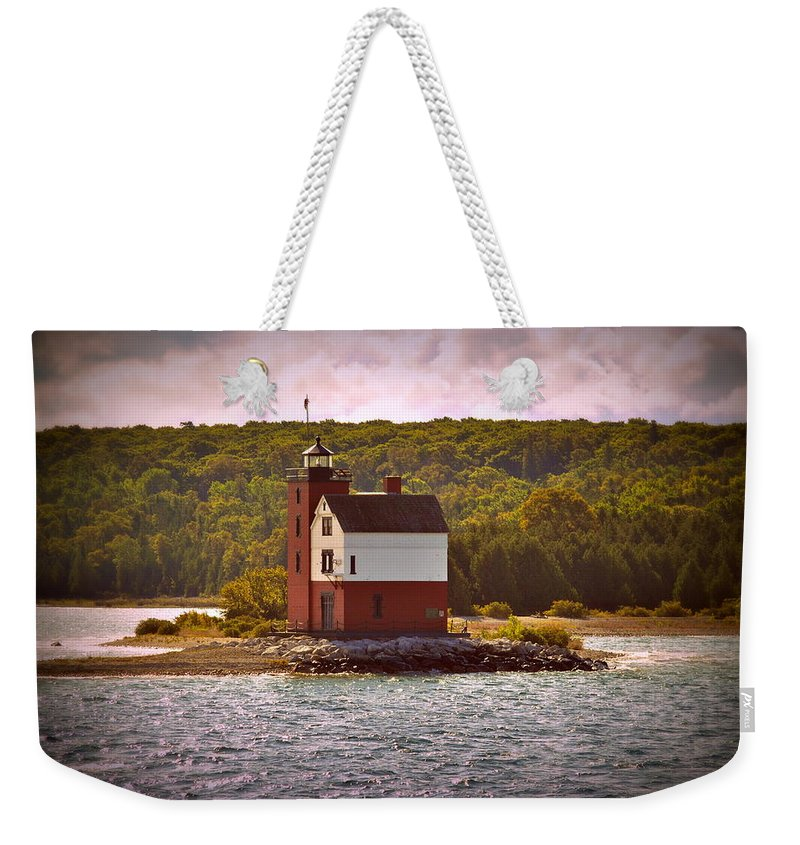 Mackinac Island Weekender Tote Bag featuring the photograph Round Island Lighthouse by Marysue Ryan