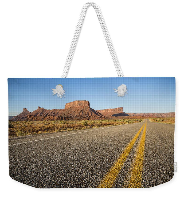 3scape Photos Weekender Tote Bag featuring the photograph Route 128 Near Castle Valley by Adam Romanowicz