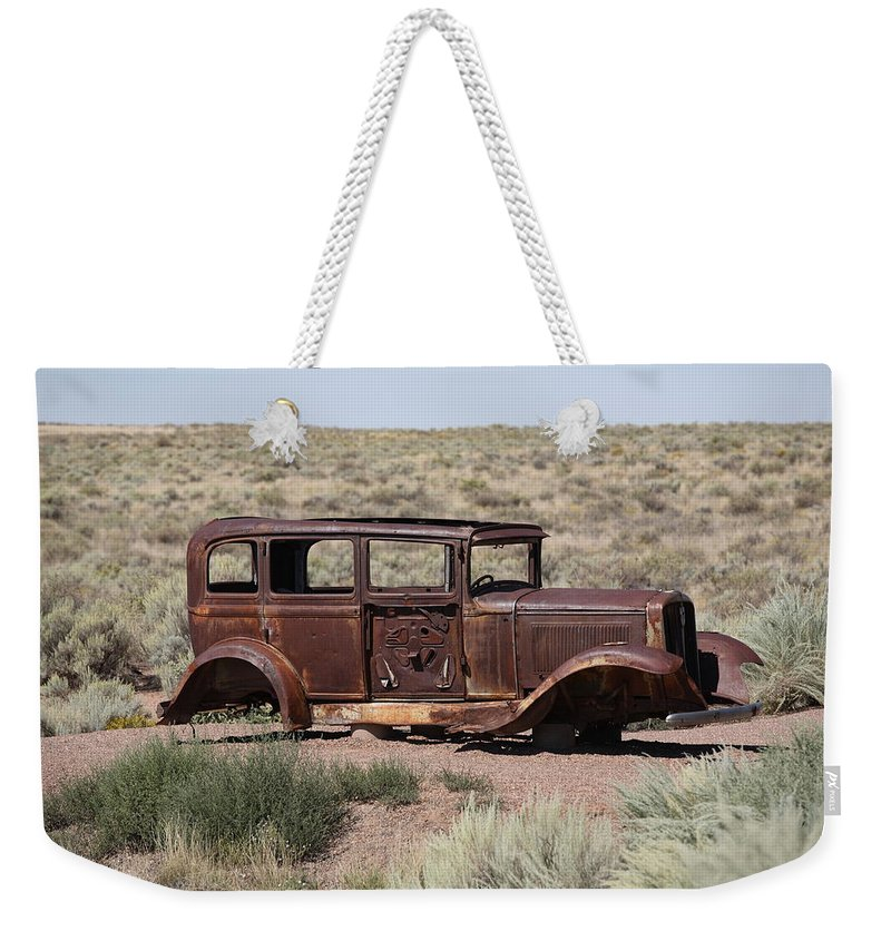 66 Weekender Tote Bag featuring the photograph Route 66 - Abandoned Car by Frank Romeo