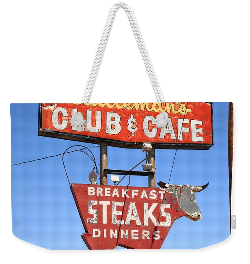 66 Weekender Tote Bag featuring the photograph Route 66 - Cattleman's Club And Cafe by Frank Romeo