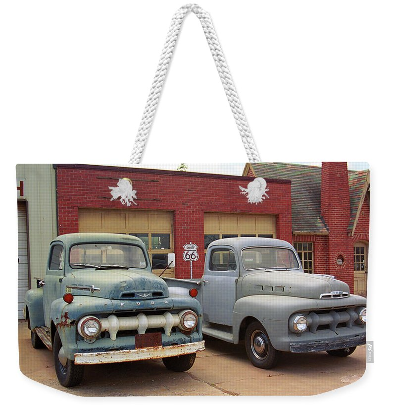 66 Weekender Tote Bag featuring the photograph Route 66 Classic Cars by Frank Romeo