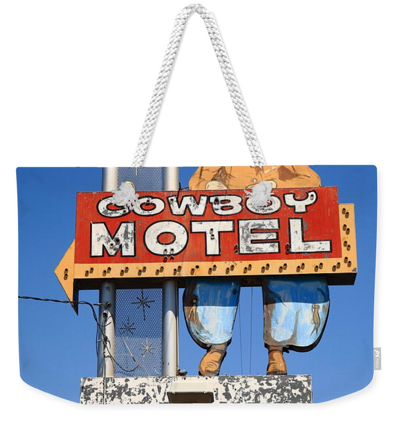 66 Weekender Tote Bag featuring the photograph Route 66 - Cowboy Motel 2012 by Frank Romeo