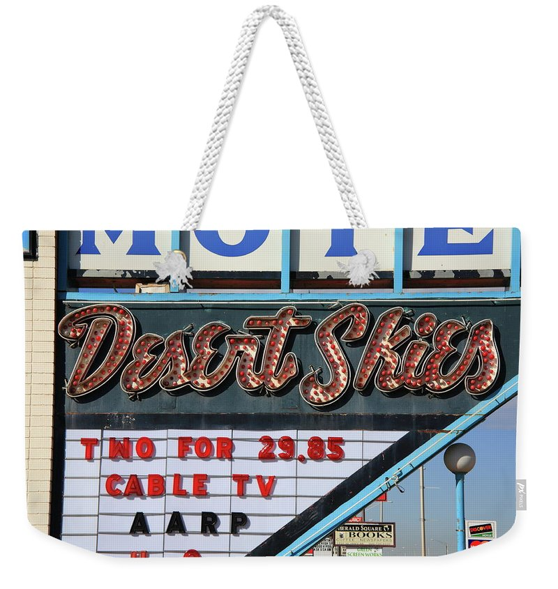 66 Weekender Tote Bag featuring the photograph Route 66 - Desert Skies Motel by Frank Romeo