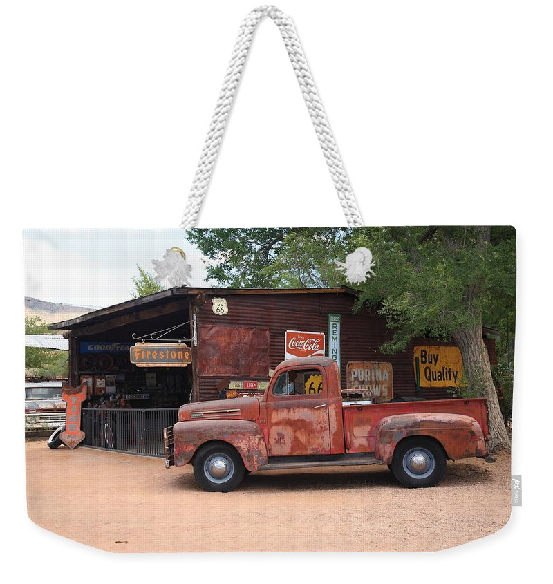 66 Weekender Tote Bag featuring the photograph Route 66 Garage And Pickup 2012 by Frank Romeo