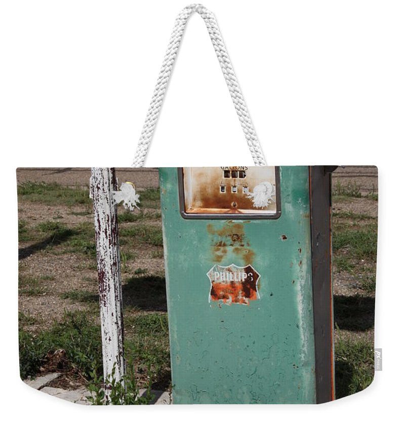 66 Weekender Tote Bag featuring the photograph Route 66 Gas Pump - Adrian Texas by Frank Romeo