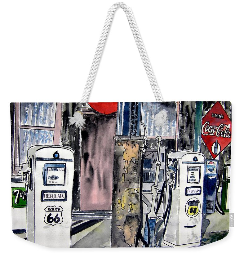Watercolor Weekender Tote Bag featuring the painting Route 66 Gas Station by Derek Mccrea