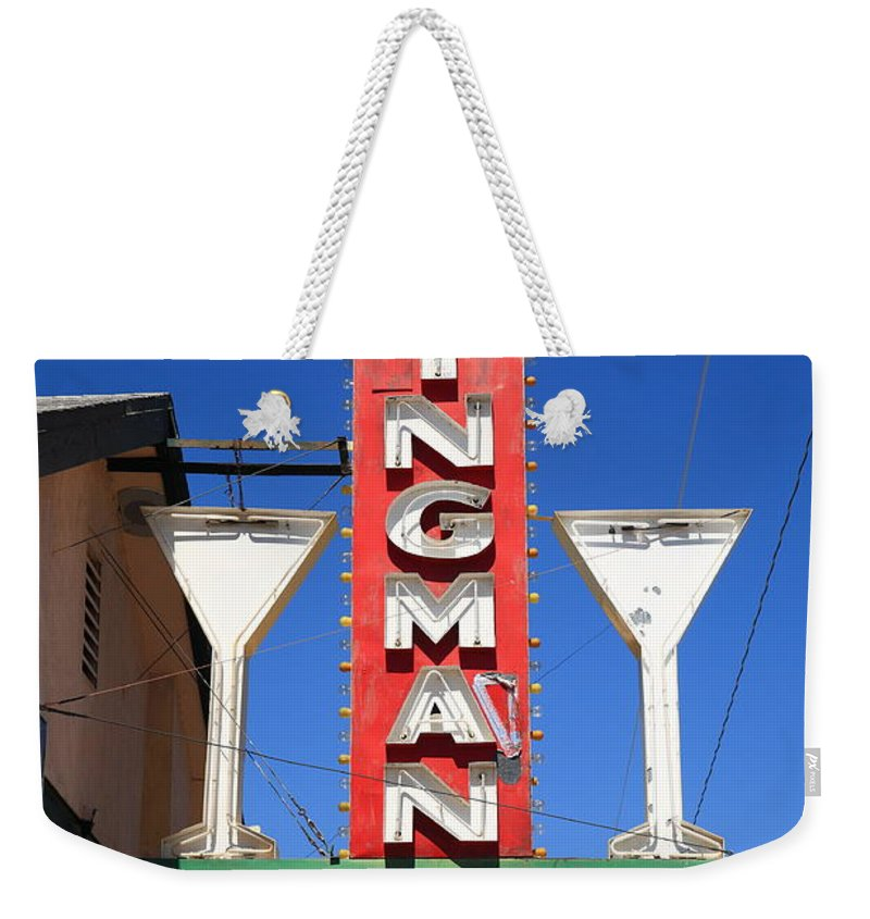 66 Weekender Tote Bag featuring the photograph Route 66 - Kingman Club Neon 2012 by Frank Romeo