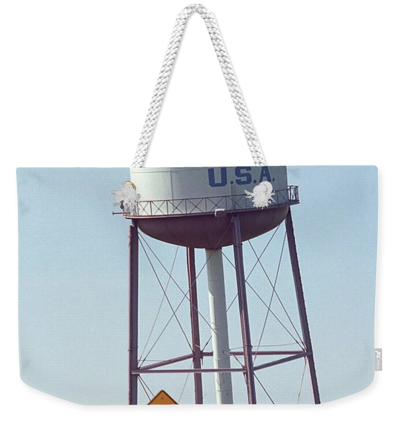 66 Weekender Tote Bag featuring the photograph Route 66 - Leaning Water Tower by Frank Romeo