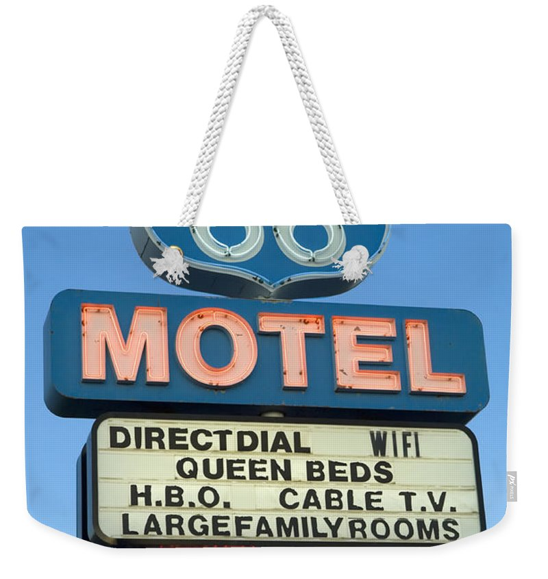 Flames Weekender Tote Bag featuring the photograph Route 66 Motel Sign 3 by Bob Christopher