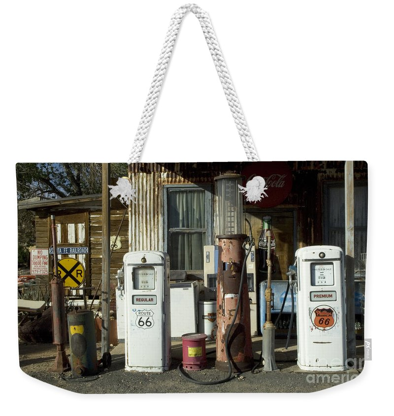 Route 66 Weekender Tote Bag featuring the photograph Route 66 Pumps by Bob Christopher