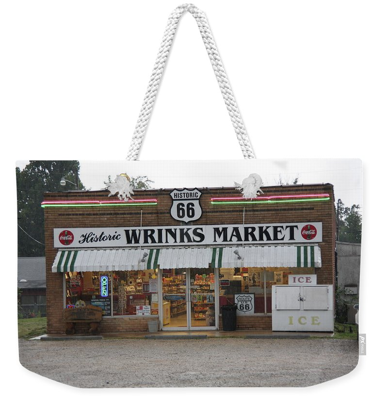 66 Weekender Tote Bag featuring the photograph Route 66 - Wrink's Market by Frank Romeo