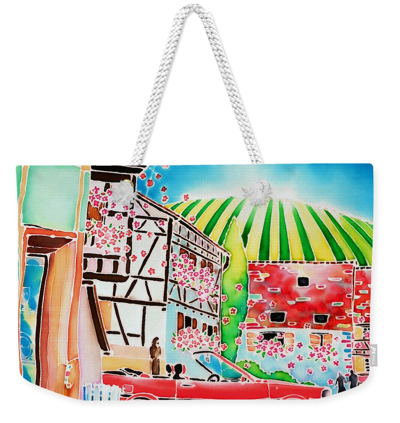 Alsace Weekender Tote Bag featuring the painting Route Des Vins by Hisayo Ohta