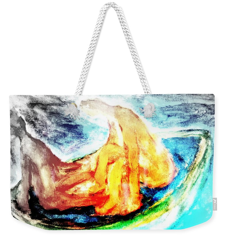 Red Weekender Tote Bag featuring the painting in a boat with you, my love, I will soon forget all about who I am  by Hilde Widerberg