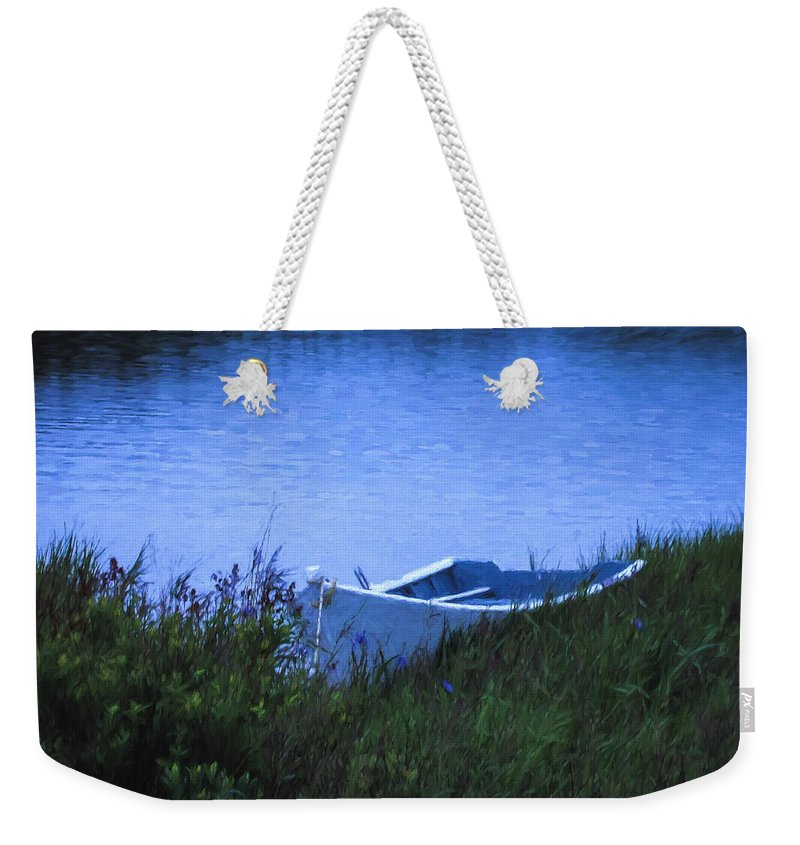 Lake Weekender Tote Bag featuring the photograph Rowboat In Grass by Boss Photographic