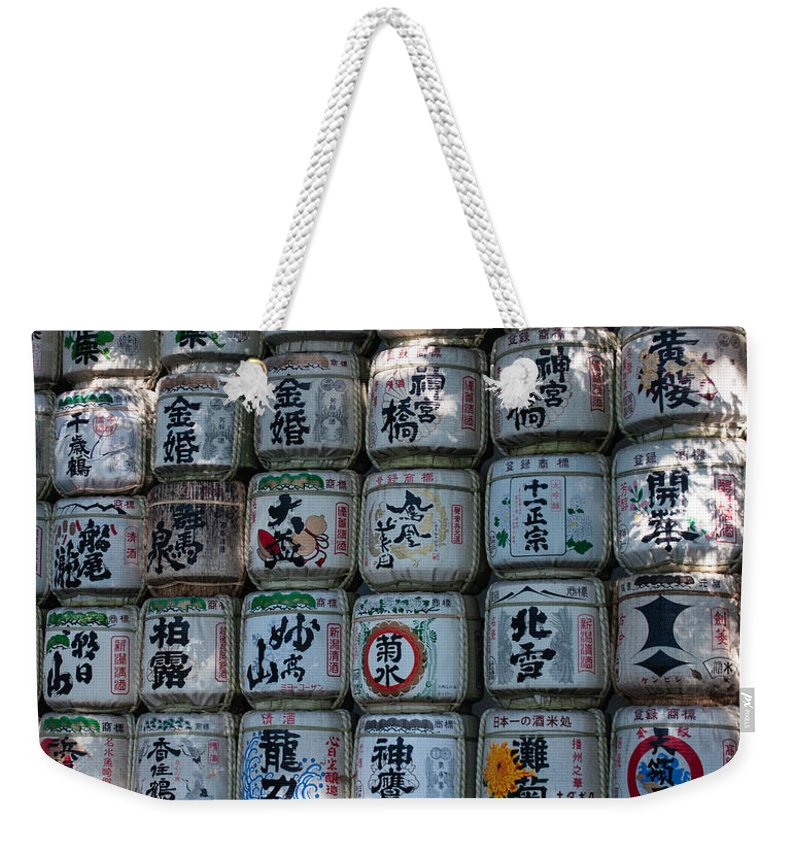 Barrels Weekender Tote Bag featuring the photograph Rows Of Sake Barrels by Jill Mitchell