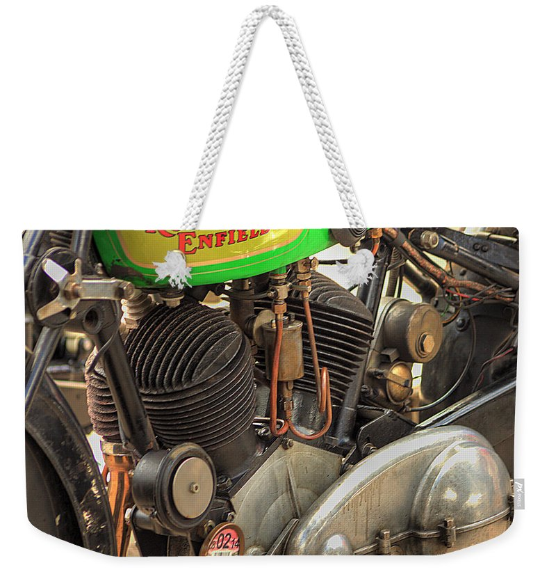 Brackley Weekender Tote Bag featuring the photograph Royal Enfield by Jeremy Hayden