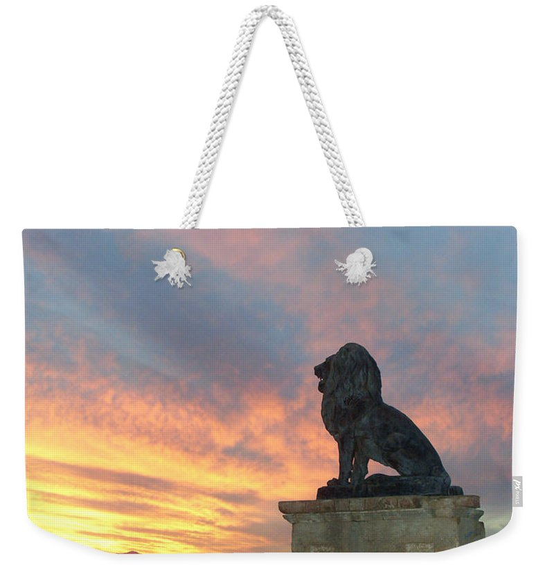 Royal Weekender Tote Bag featuring the photograph Royal Loin Statue by Douglas Barnett