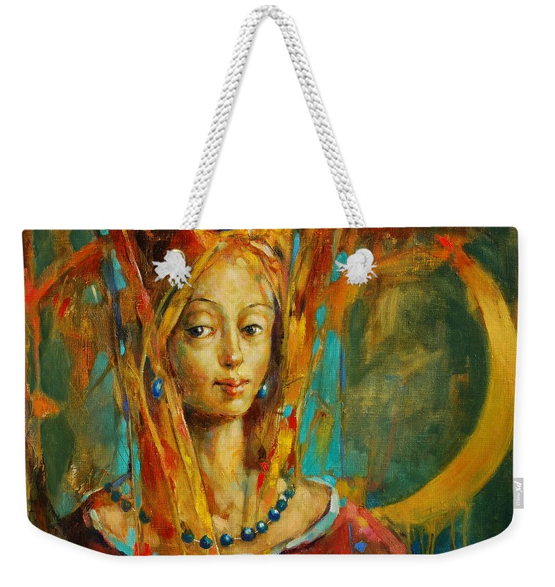 Royal Muse Weekender Tote Bag featuring the painting Royal Muse by Michal Kwarciak