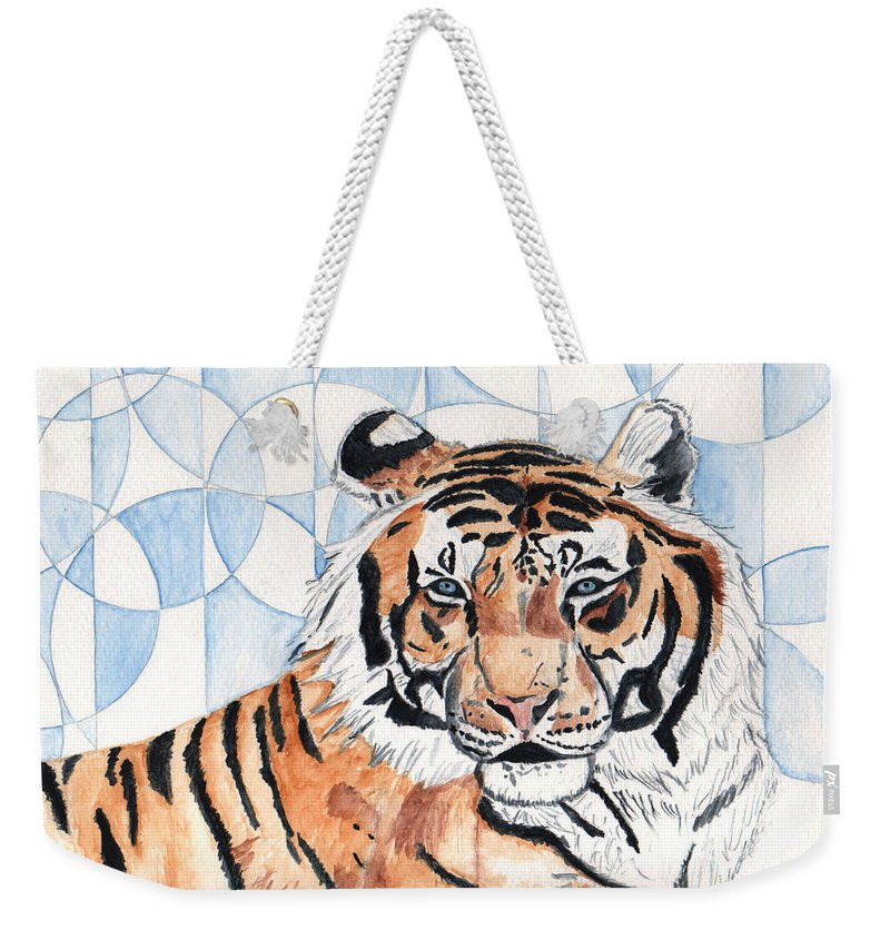 Tiger Weekender Tote Bag featuring the painting Royal Mysticism by Crystal Hubbard