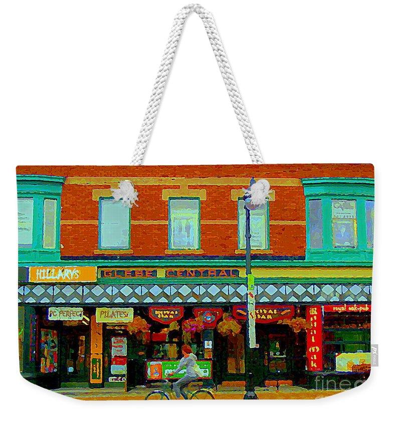 Ottawa Weekender Tote Bag featuring the painting Royal Oaks British Pub Hillarys And Pc Perfect Glebe Central Paintings Of Ottawa Scenes C Spandau by Carole Spandau