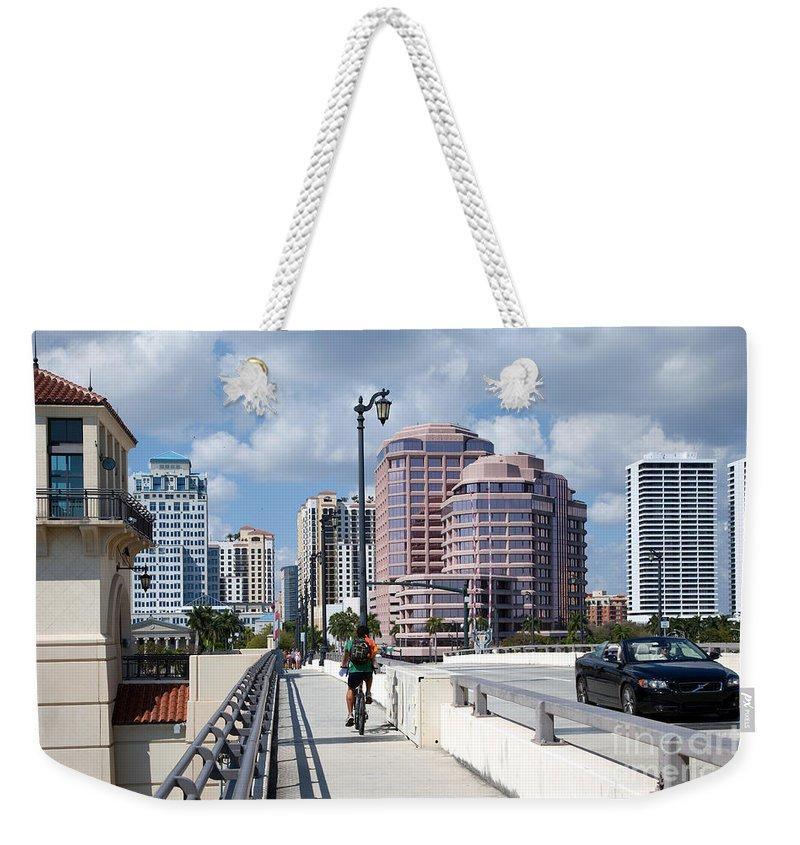 Florida Weekender Tote Bag featuring the photograph Royal Palm Way Bridge by Bill Cobb