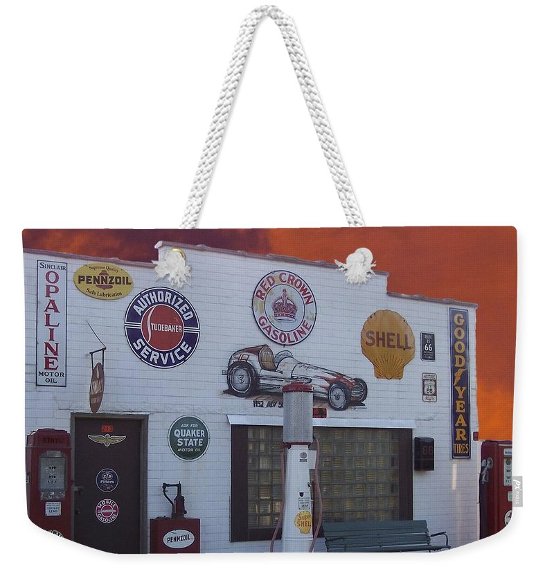 Dwight Weekender Tote Bag featuring the photograph Rt 66 Dwight Il Roadside Attraction by Thomas Woolworth