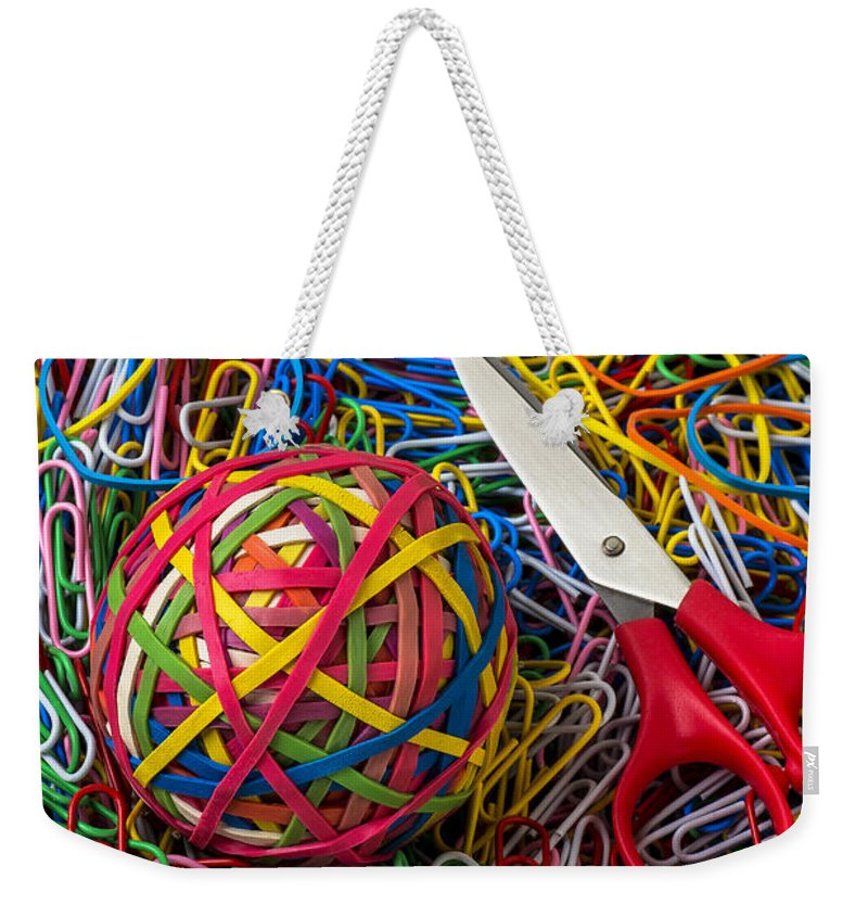 Rubber Band Weekender Tote Bag featuring the photograph Rubber Band Ball With Sccisors by Garry Gay